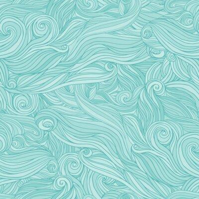 Fototapet Seamless abstrakt mönster, härva vågigt hår bakgrund