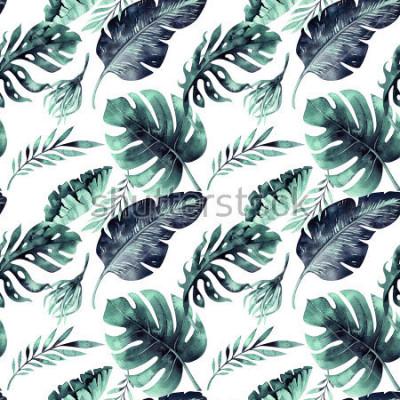 Fototapet Seamless akvarellmönster av tropiska löv, tät djungel. Handmålade palmblad. Textur med tropisk sommartid kan användas som bakgrund, inslagspapper, textil- eller tapetdesign.