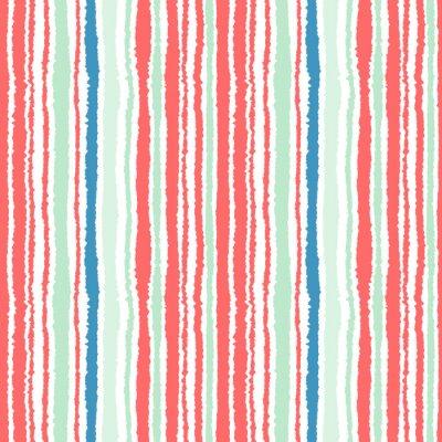 Fototapet Seamless band mönster. Vertikala linjer med sönderrivet papper effekt. Strimla kant bakgrund. Kall, mjuk, grön, blå, röd, vit färgar. Vintertema. Vektor