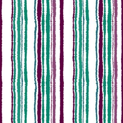 Fototapet Seamless band mönster. Vertikala linjer med sönderrivet papper effekt. Strimla kant bakgrund. Kyla, kontrast, turkos, grönt, vinous, lila, vita färger. Vintertema. Vektor