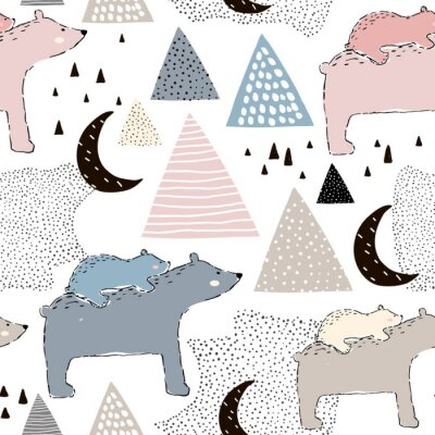 Fototapet Seamless barnsligt mönster med isbjörn mamma och baby. Kreativ barndesign. Perfekt för tyg, textilier, warpping, barnkammare. Vector Illustration