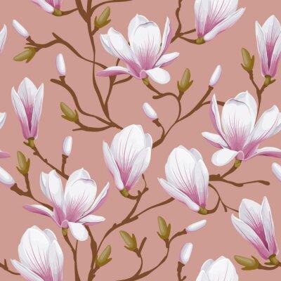 Fototapet Seamless blom- modell - magnolia