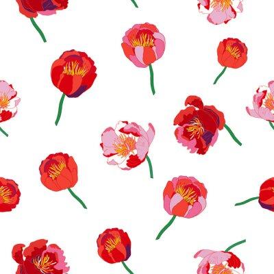 Fototapet Seamless blommig bakgrund. Isolerade röda blommor på vit bakgrund. Vektor illustration.
