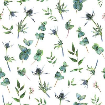 Fototapet Seamless blommönster med grön eukalyptus, feverweeds och löv av ruscus på vitt. Vårväxt. Botanisk naturlig bakgrund ritad med hand med färgpennan