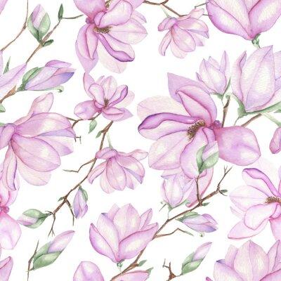 Fototapet Seamless blommönster med magnolior målade med vattenfärger på vit bakgrund