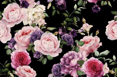 Fototapet Seamless blommönster med rosor, akvarell