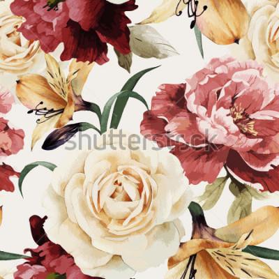 Fototapet Seamless blommönster med rosor, akvarell. Vektor illustration.