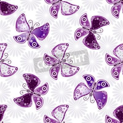 Fototapet Seamless blommönster med violett fjärilar och blommor (vektor)