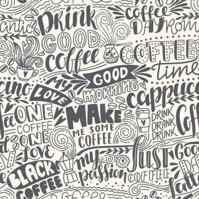 Fototapet Seamless bokstäver kaffemönster med citat. Handritad vektor illustration