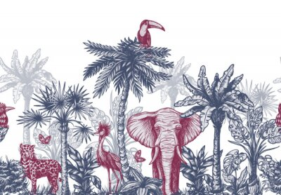 Fototapet Seamless border with graphical tropical tree such as palm, banana and jungle animals. Vector.