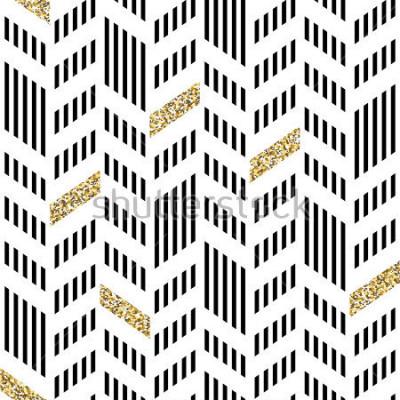 Fototapet Seamless Chevron Pattern. Med glittrande guld och tunna linjer