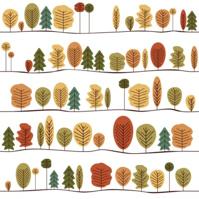 Fototapet Seamless dekorativ textur med hösten träd. Seamless färgrik stiliserade träd mönster.