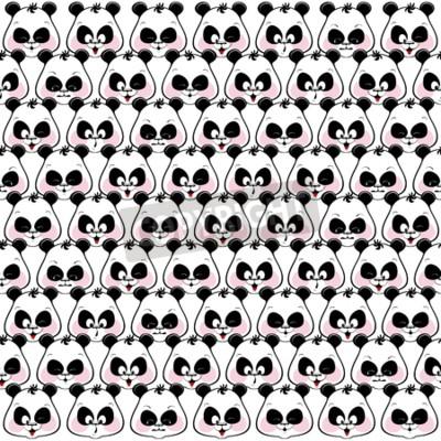 Fototapet Seamless färgad bakgrund av roliga munkorgar pandor. illustratio
