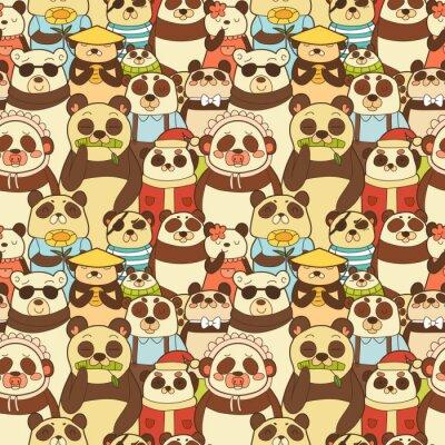 Fototapet Seamless färgrik modell med roliga pandor