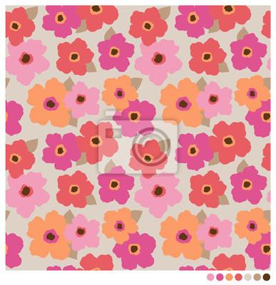 Fototapet Seamless färgrik vektor blommor mönster.
