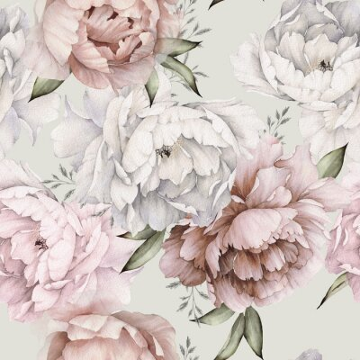Fototapet Seamless floral pattern with peonies on light background, watercolor. Template design for textiles, interior, clothes, wallpaper. Botanical art