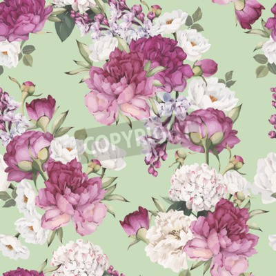 Fototapet Seamless floral pattern with peonies. Vector