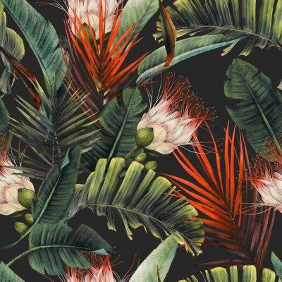 Fototapet Seamless floral pattern with tropical flowers and leaves on dark background. Template design for textiles, interior, clothes, wallpaper. Watercolor illustration