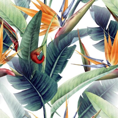 Fototapet Seamless floral pattern with tropical leaves and strelitzia on light background. Template design for textiles, interior, clothes, wallpaper. Watercolor illustration