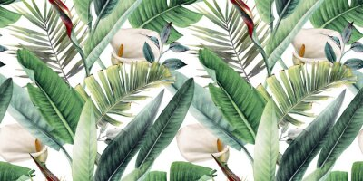 Fototapet Seamless floral pattern with tropical leaves on light background. Template design for textiles, interior, clothes, wallpaper. Watercolor illustration