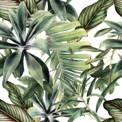 Fototapet Seamless floral pattern with tropical piants, watercolor.