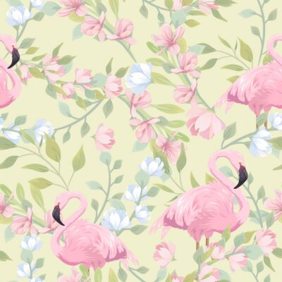 Fototapet Seamless gentle pattern with pink flowers and flamingo