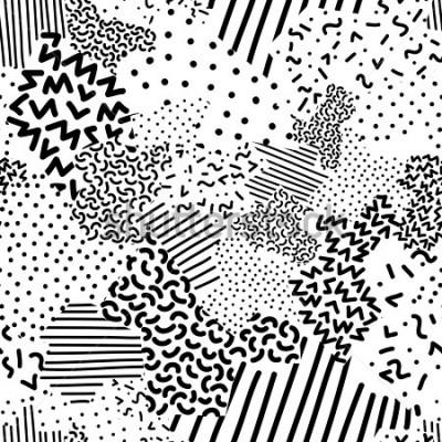 Fototapet Seamless geometric pattern in memphis style