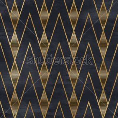 Fototapet Seamless geometriska mönster på pappersstruktur. Art Deco bakgrund,