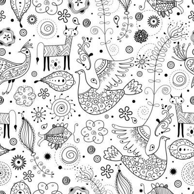 Fototapet Seamless grafiskt mönster av fantastiska djur