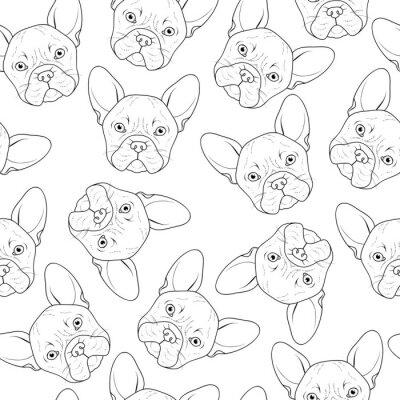 Fototapet Seamless gulliga bulldog skiss. Realistisk hund handgjorda. Färga svartvitt med bulldog. Skriv för utskrift på textil. Hundar. Seamless hund för trycksaker