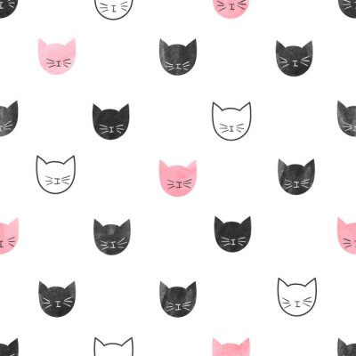 Fototapet Seamless gulliga katter mönster. Vektor bakgrund med vattenfärg katthuvud