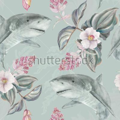 Fototapet Seamless hand illustrerad blommönster med rosa Medinilla Magnifica och haj