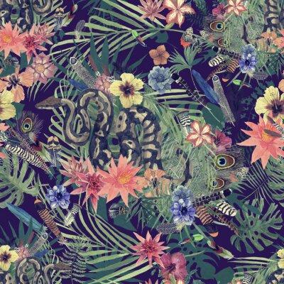 Fototapet Seamless handgjord akvarellmönster med boa, blommor, fjädrar.