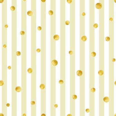 Fototapet Seamless handmålade guld cirklar. Guld prickiga mönster
