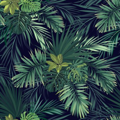 Fototapet Seamless handritad botaniska exotiska vektor mönster med gröna palmblad på mörk bakgrund.