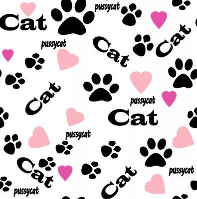 Fototapet Seamless kattunge fot abstrakt mönster