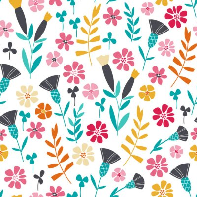 Fototapet Seamless ljusa skandinaviska blommiga mönster