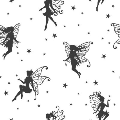 Fototapet Seamless magiskt mönster med feer och stjärnor.