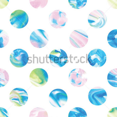 Fototapet Seamless marble polka dot pattern. Abstract watercolor shapes in rainbow.