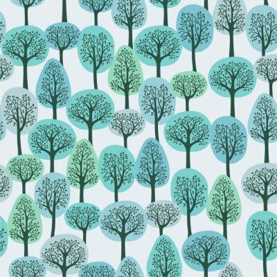 Fototapet seamless med en vinter skog