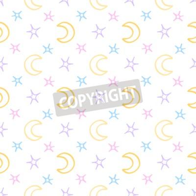 Fototapet Seamless mjuka stjärnor och måne barn natten bakgrunden. söta drömmar mönster