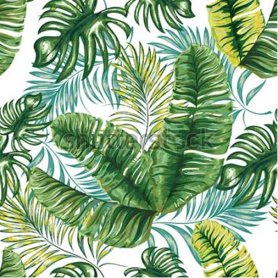 Fototapet Seamless mönster av en tropisk palmträd, djungelblad och blommor. Handritning. Blommönster för vektor.