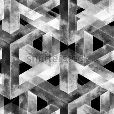 Fototapet Seamless mönster gjord av en optisk illusion. Akvarell ovanlig konsistens. Handritad illustration för tapeter, bakgrund och banner.