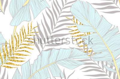 Fototapet Seamless monster med banan och gyllene palmblad i vektor