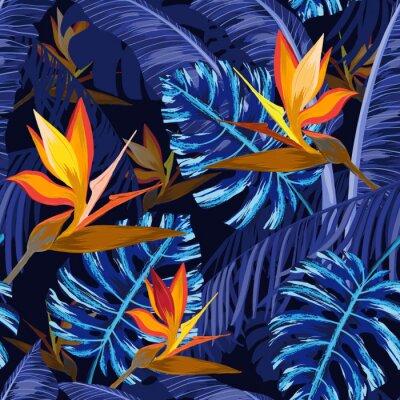 Fototapet Seamless mönster med blå tropiska blommor
