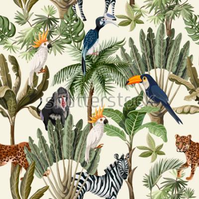 Fototapet Seamless mönster med exotiska träd och djur.