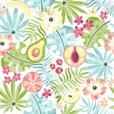Fototapet Seamless mönster med frukter och blommor
