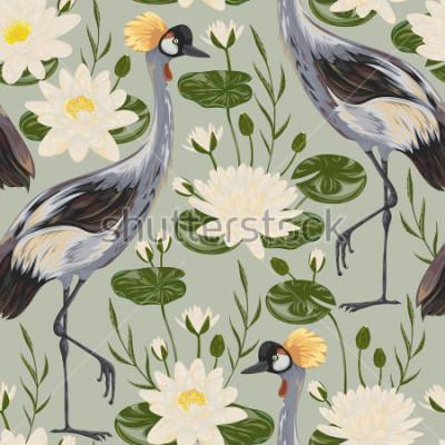 Fototapet Seamless mönster med kranfågel och vattenlilja. Orientalisk motiv. Vintage handritad vektor illustration i akvarell stil