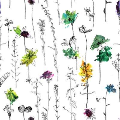 Fototapet Seamless mönster med ritning örter och blommor