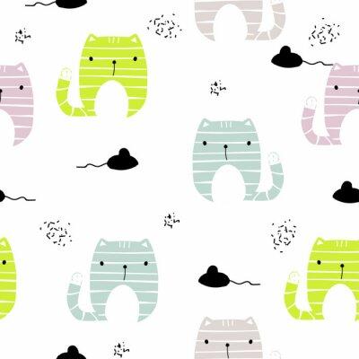 Fototapet Seamless mönster med rolig katt och svart mus. Vektor handgjord illustration.